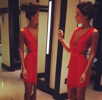 dress red dress red low cut dress short