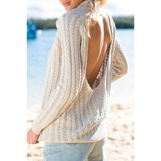 sweater knitwear high neck fall outfits fall sweater backless backless sweater cream beige autumn/winter back to school