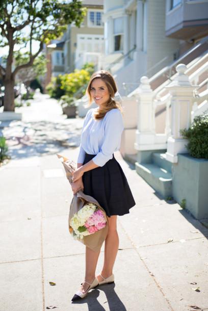 gal meets glam blogger black skirt blue shirt blouse skirt