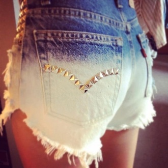 shorts ombre shorts ombré studded shorts denim cut offs ombre bleached short studded shorts studded denim shorts ombré levi high waisted white wash jeans studs jewels