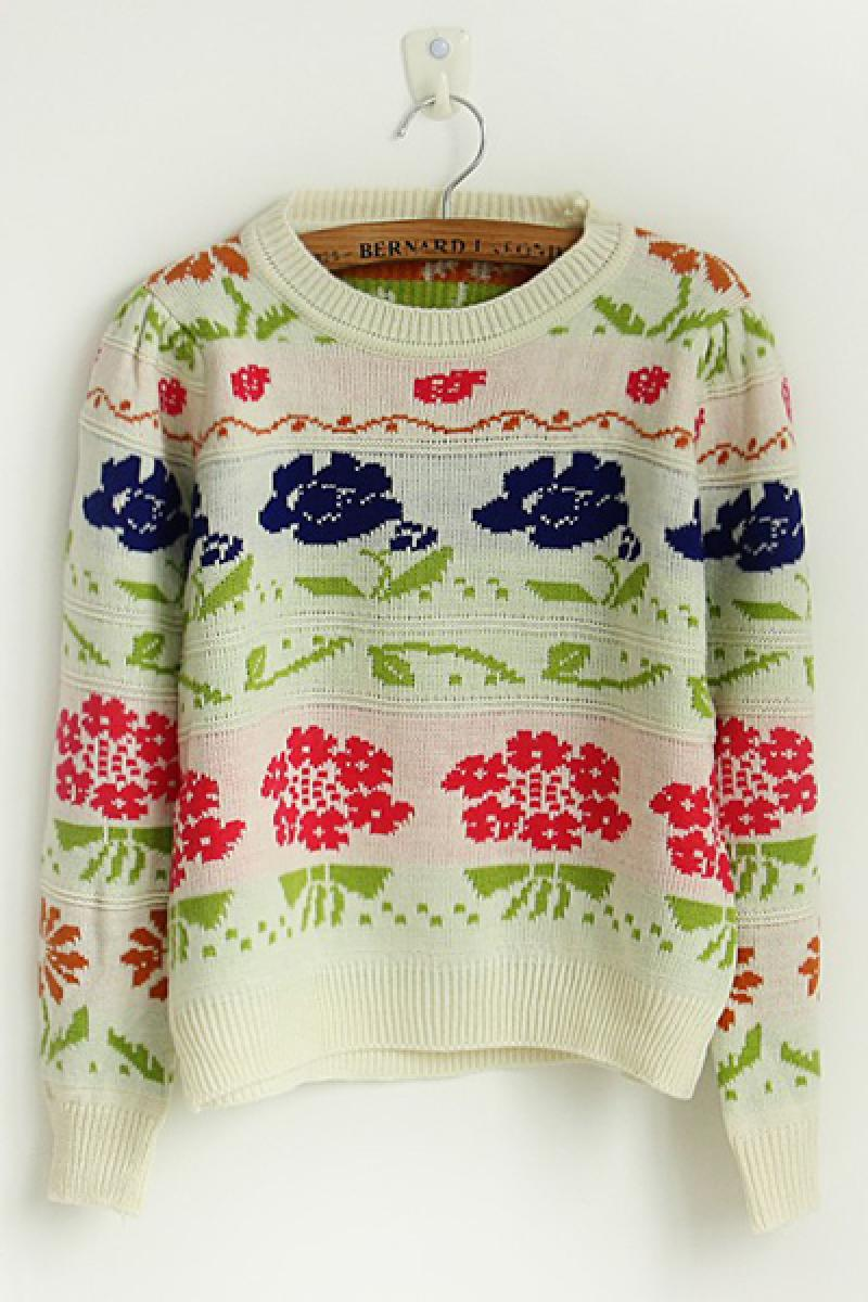 New Floral Pullover Knitwear,Cheap in Wendybox.com