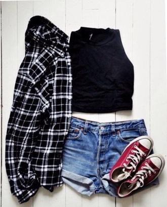 top converse flannel shirt
