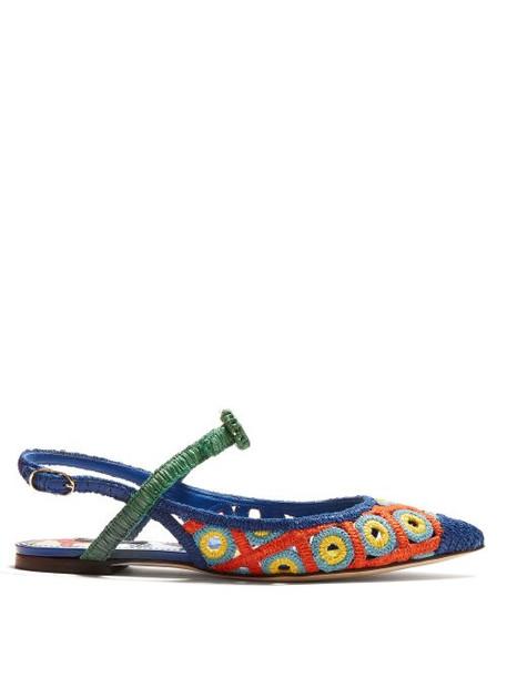 Dolce & Gabbana - Majolica Woven Wicker Slingback Pumps - Womens - Blue Multi