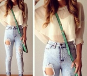 top,jeans,crop tops,blouse,the two shirts,blue jeans,ripped,ripped jeans,ripped high waisted jeans,high waisted jeans,t-shirt,transparent shirt,purse,bag,acid wash,heels,cream top,cropped sweater,blue