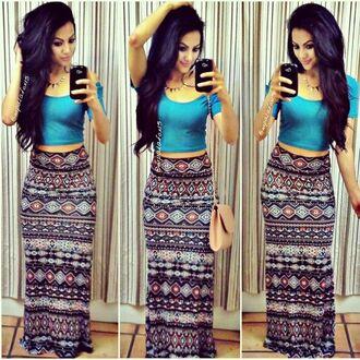 tribal pattern crop tops handbag phone cover necklace hairstyles shirt black skirt skirt long skirt collorful