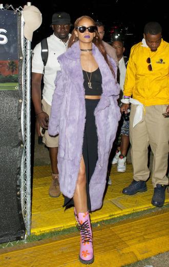 coat coachella festival rihanna shoes skirt slit skirt