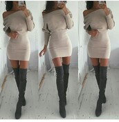 dress,outfit,outfit idea,fall outfits,summer outfits,winter outfits,cute outfits,spring outfits,date outfit,party outfits,trendy,fashion,style,stylish,clubwear,club dress,special occasion dress,sexy party dresses,short party dresses,summer dress,cute dress,sexy dress,party dress,short dress,long sleeves,long sleeve dress,off the shoulder,off the shoulder dress,nude dress,shoes,sexy shoes,party shoes,cute shoes,summer shoes,boots,suede boots,thigh high boots,winter boots,high heels boots,over the knee boots,pointed toe,pointed boots,heels,high heels,cute high heels,grey boots