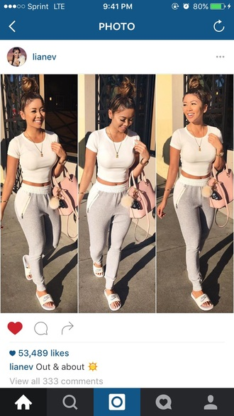 pants liane v joggers white top white crop tops grey sweatpants pink bag casual