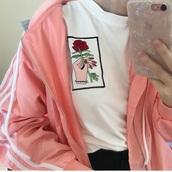 jacket,girly,girl,girly wishlist,pink,hoodie,hooded jacket,white,stripes,windbreaker