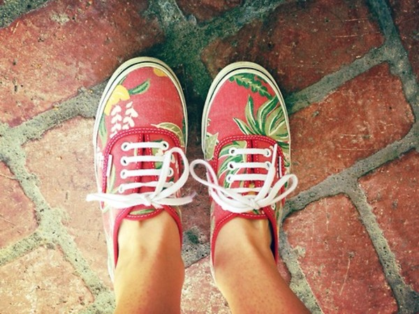 shoes vans red tropical