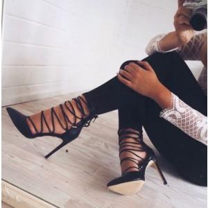 265cbbc43ec Wine Black Ankle Stiletto Pointed Toe Pumps Strappy Sandals