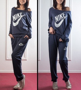 jumpsuit nike off the shoulder sweater off the shoulder tracksuit sportswear swag pants pullover shirt band t-shirt blouse