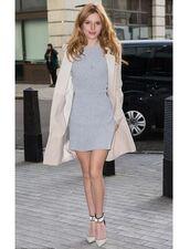 dress,short dress,mini dress,bella thorne,pumps,trench coat