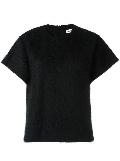 top knitted top women mohair black wool