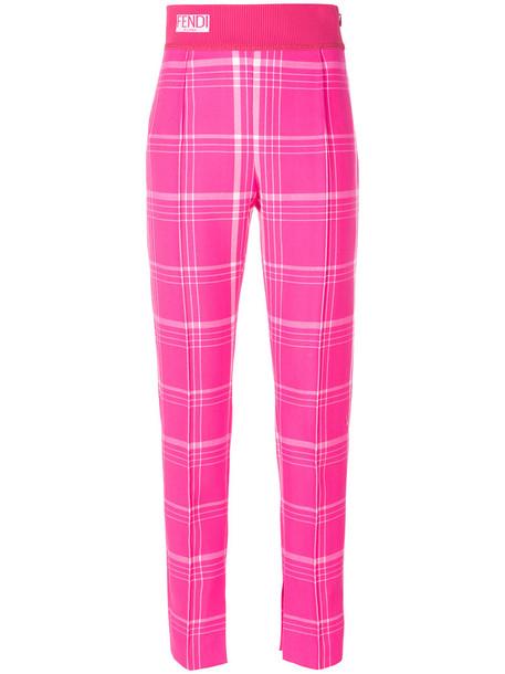 Fendi - checked trousers - women - Polyamide/Polyester/Spandex/Elastane/Virgin Wool - 38, Pink/Purple, Polyamide/Polyester/Spandex/Elastane/Virgin Wool