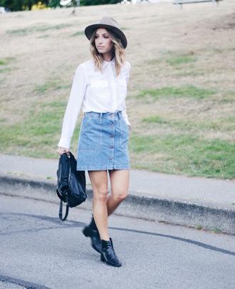 the august diaries blogger button up skirt denim skirt white blouse