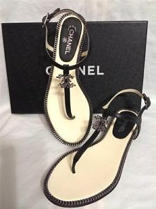 0aaf4e2902d CHANEL 2014 14P Leather Jewel CC Logo Flat Thong Sandal Shoes ...