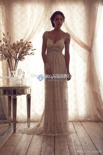 v-neck long lace wedding dresses wedding dresses beading long bridal gown cap sleeves ivory wedding dresses