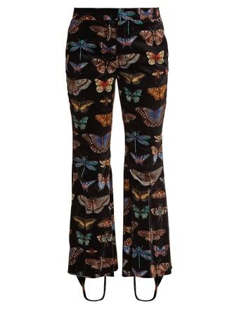 butterfly cotton print velvet black pants