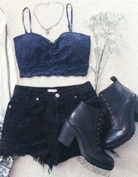 ripped shorts black