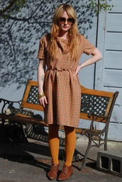 plaid,vintage,orange,yellow,fall outfits,plaidress,plaid dress,lose,vintage dress,fall colors,dress