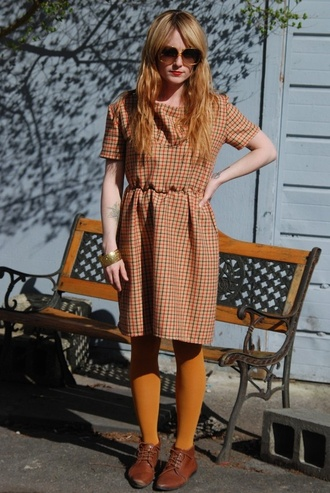 plaid vintage orange yellow fall autumn plaidress plaiddress lose vintagedress fallcolor dress