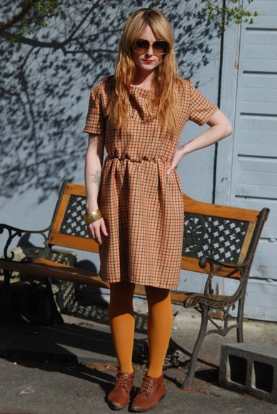 fall outfits vintage flannel orange yellow fall outfits plaidress plaiddress lose vintagedress fallcolor