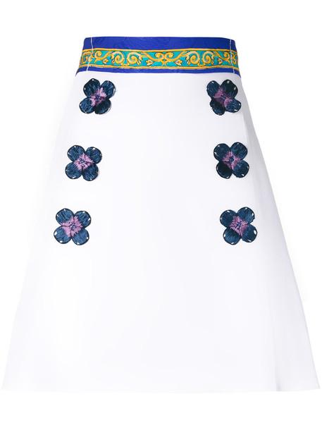 skirt floral skirt women spandex floral white cotton silk