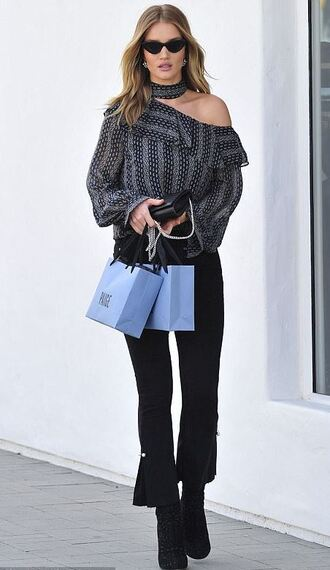 blouse top asymmetrical asymmetrical top rosie huntington-whiteley pants sunglasses streetstyle fall outfits model off-duty