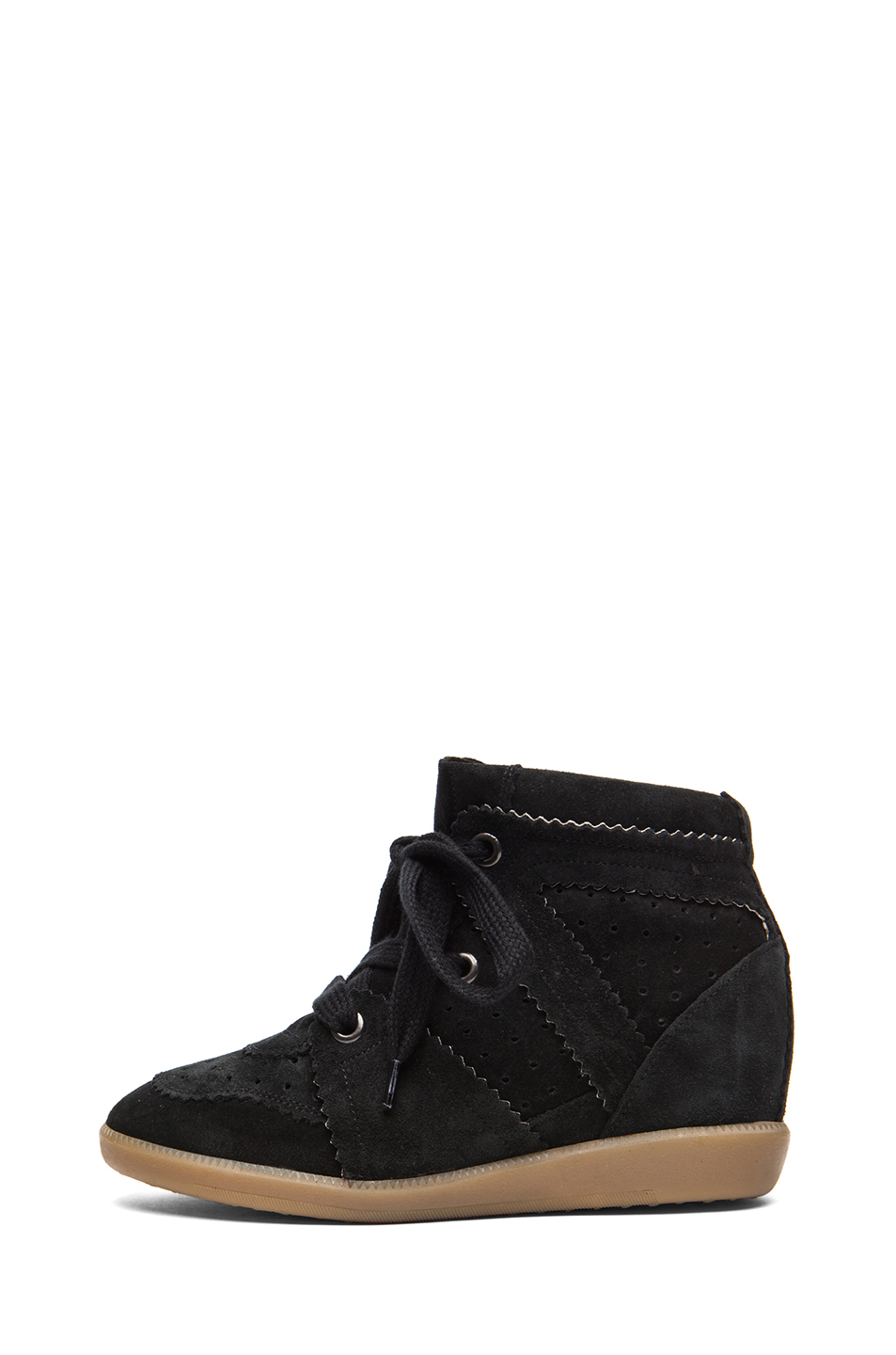 Isabel Marant|Bobby Calfskin Velvet Leather Sneakers in Faded Black