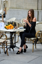 vogue haus,blogger,top,jeans,shoes,bag,jewels,sunglasses,loafers,gucci shoes,black pants,off the shoulder top