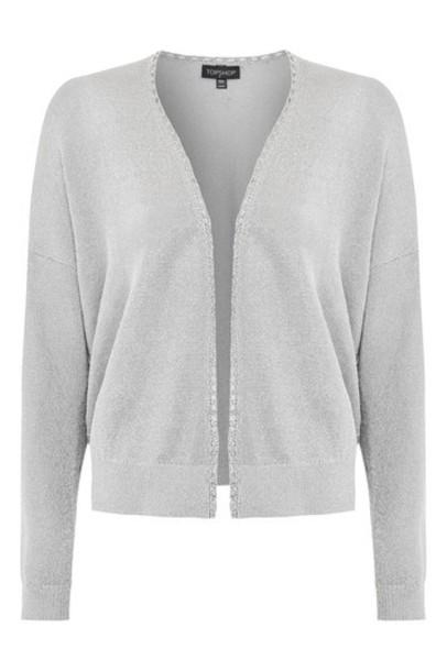 Topshop cardigan cardigan metallic silver sweater
