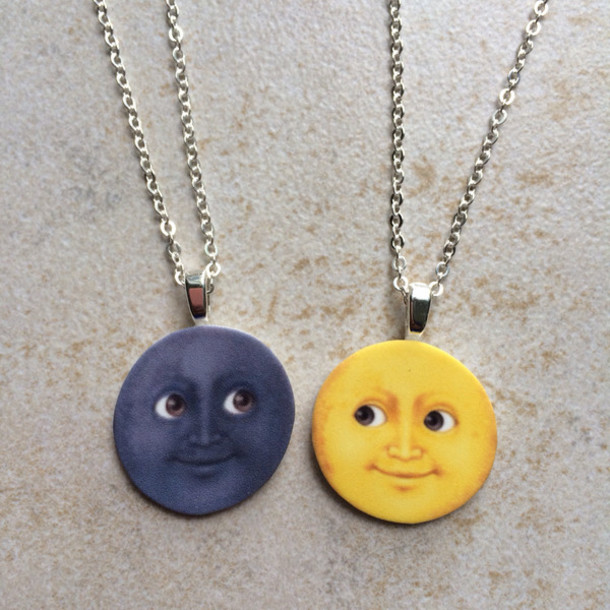 jewels jewelry necklace emoticons emoji print emoji print emoji necklace moon moon necklace black yellow