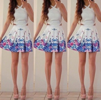 dress white white dress blue floral flowers chic style high heels skater skater dress floral skater dress summer fashion floral dress summer dress shoes