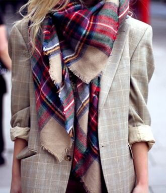 scarf plaid red white flannel scarf