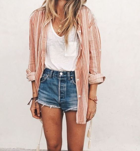 top red pinstripe button up red pinstripe button up boho sailor