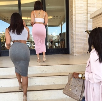 skirt style long skirt clothes pencil skirt maxi skirt pink skirt grey skirt kim kardashian tank top top crop tops high heels pumps coat bag purse hat