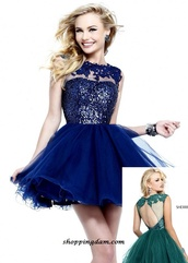 dress,deep blue,sherri hill,prom dress,short dress,light blue,floral,lace,short,navy dress,formal dress,blue prom dress,i want black dress