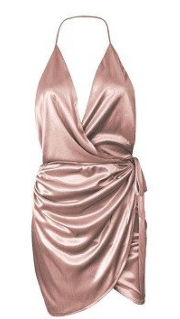 dress silk nude silk wrap dress going out dress party dress sexy