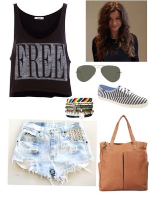 t-shirt top free shorts bag brownbag keds shoes sunglasses bracelets