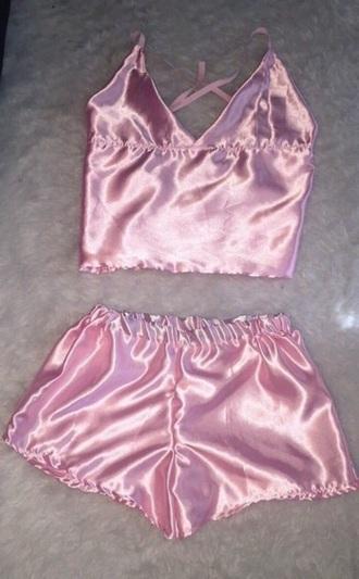 pajamas pink satin shorts cami top