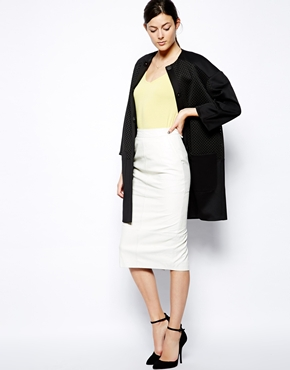ASOS | ASOS Cocoon Coat with Oversized Mesh Panels at ASOS