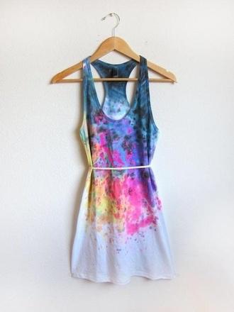 dress multicolor tie dye splash ink