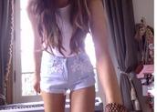 shorts,ariana grande,cute,girly,white,jeans,short