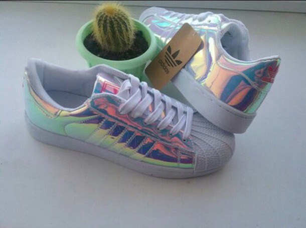 shoes, adidas, holographic, glitter, white, adidas shoes