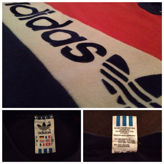 Seltene Vintage Adidas Trefoil Pullover Sweatshirt Sz MM samt bestickt Made in West Germany