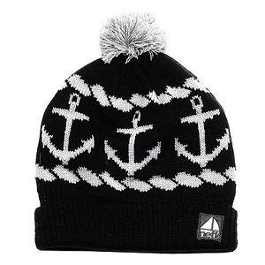 Neff Sailor Ahoy Anchors Nautical Knit Beanie Cap Hat Black White | eBay