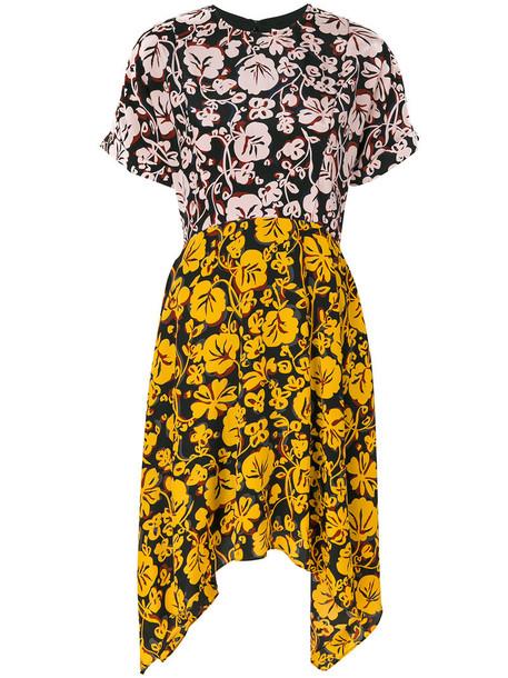 Kenzo dress day dress women print silk orange