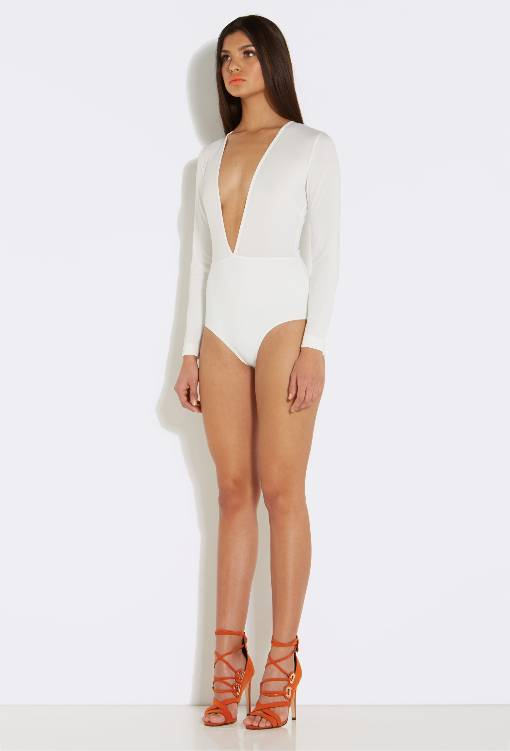 Ruthie cream deep plunge long sleeve bodysuit