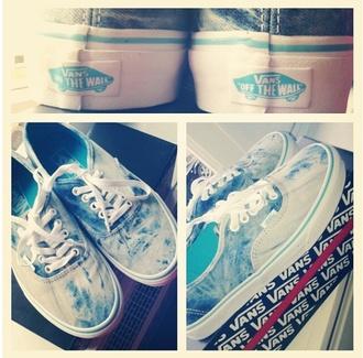shoes vans of the wall blue light white washed dipdie tiedie dyed vans vans authentic vans sneakers printed vans